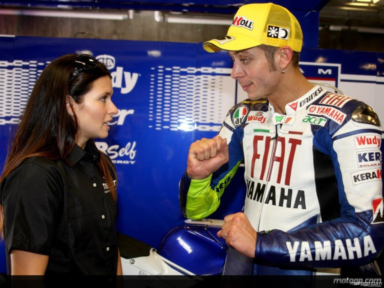 Danica Patrick and Valentino Rossi meet at the Indianapolis Motor Speedway