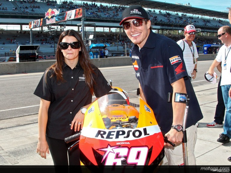 Indy Japan 300 Winner Danica Patrick and Nicky Hayden at the Red Bull Indianapolis Grand Prix