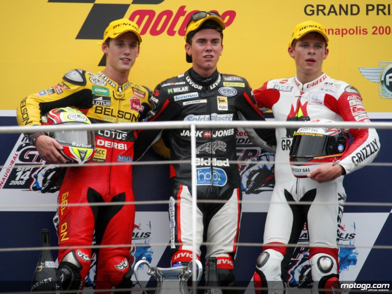 Espargaró, Terol an Bradl on the podium at Indianapolis (125cc)