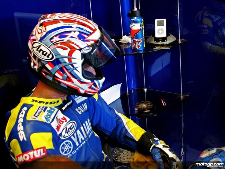 Colin Edwards in the Tech 3 Yamaha garage