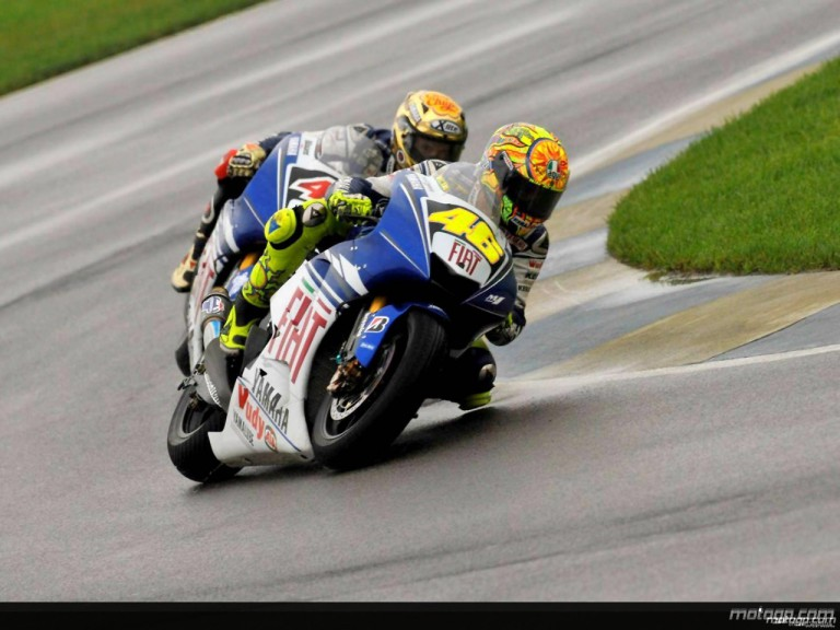 Valentino Rossi riding ahead Jorge Lorenzo at Indianapolis