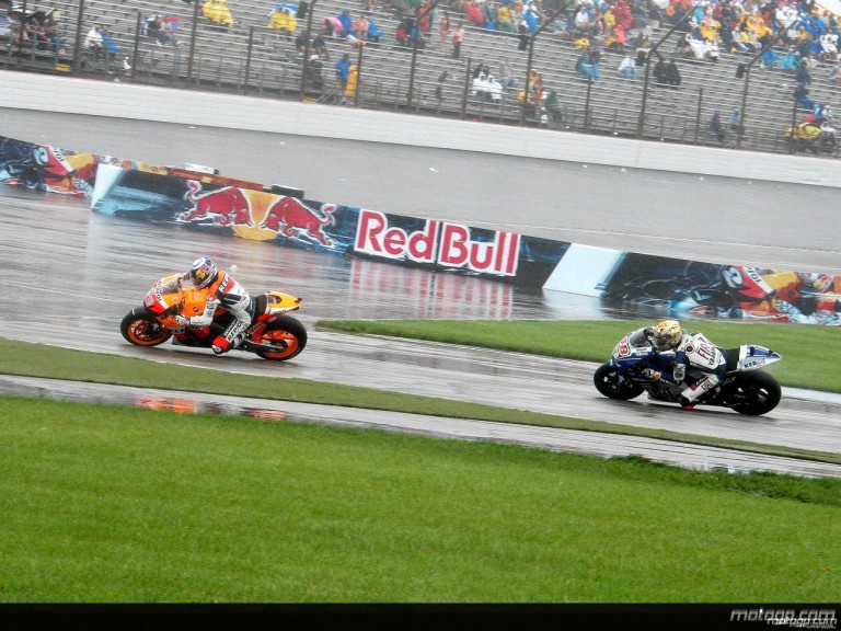 Nicky Hayden riding ahead of Jorge Lorenzo at Indianapolis
