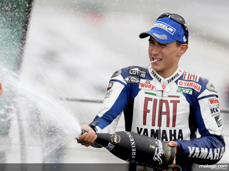 Jorge Lorenzo celebrating podium at Indianapolis