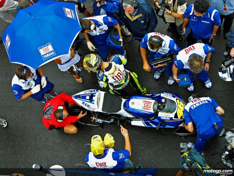 Valentino Rossi getting ready for the start of the Red Bull Indianapolis Grand Prix