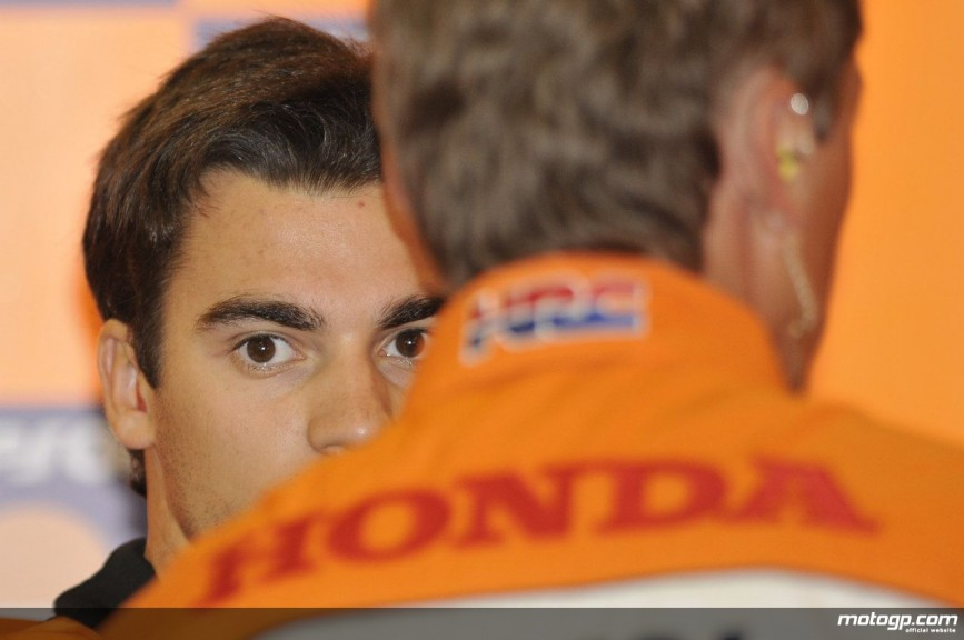 Pedrosa at Repsol Honda box