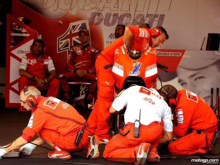 Ducati staff at work in the garage