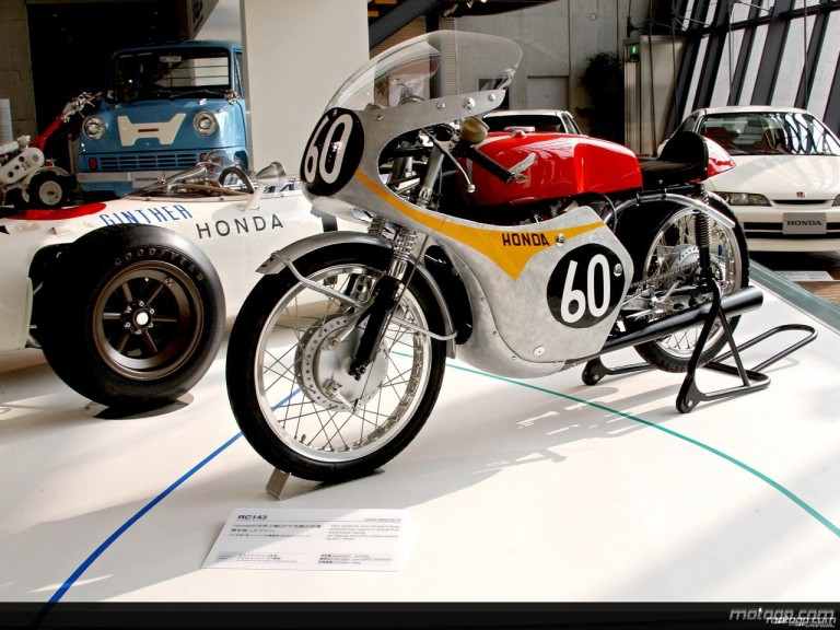 Tom Phillis´ Honda RC143 on display at Motegi