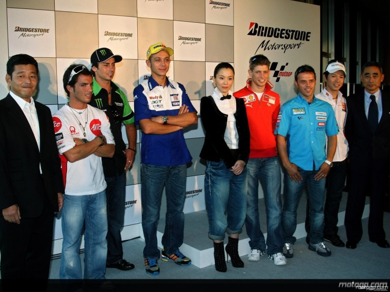 Bridgestone MotoGP riders in Tokyo ahead of the Japanese GP