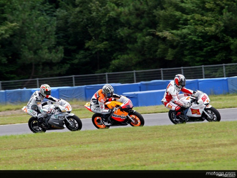 Honda MotoGP riders racing minibikes in Motegi