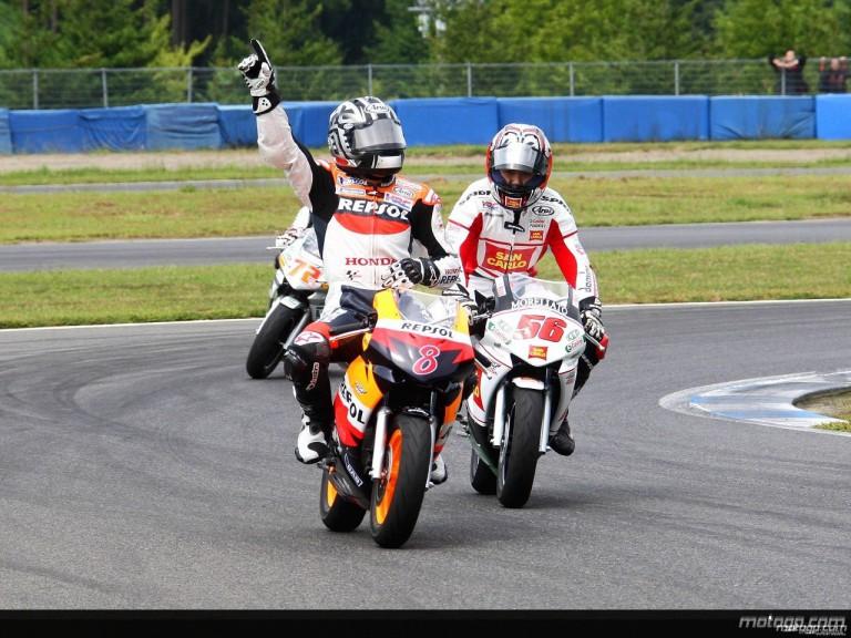 Honda MotoGP riders racing minibikes in Motegi