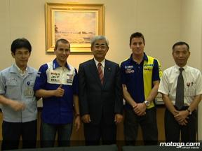 Toseland and Lorenzo visit the Yamaha HQ in Iwata