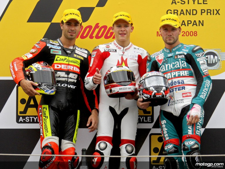 Di Meglio, Bradl and Talmacsi on the podium at Motegi (125cc)