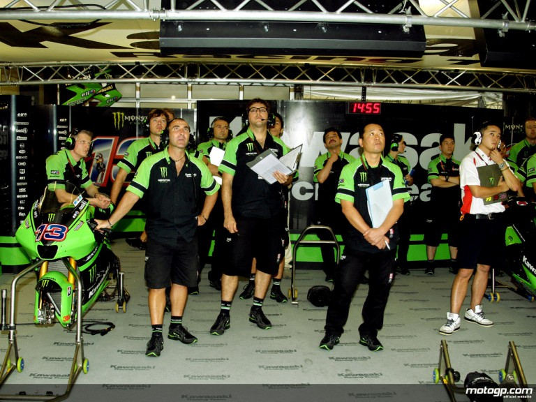 Kawasaki staff in the garage