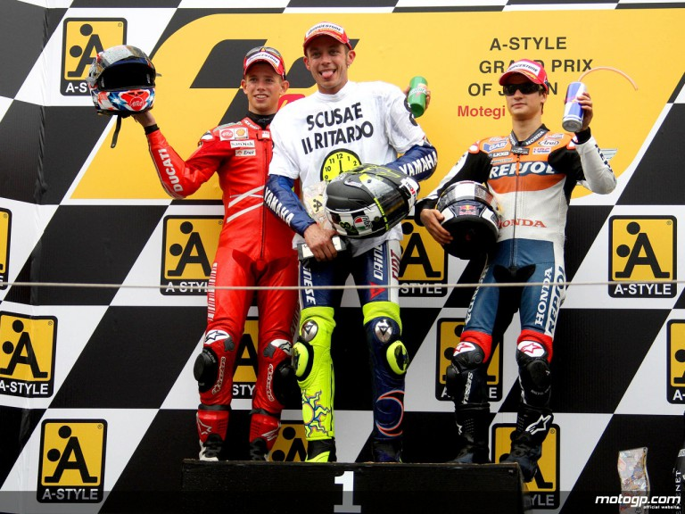 Casey Stoner, Valentino Rossi and Dani Pedrosa on the podium at Motegi