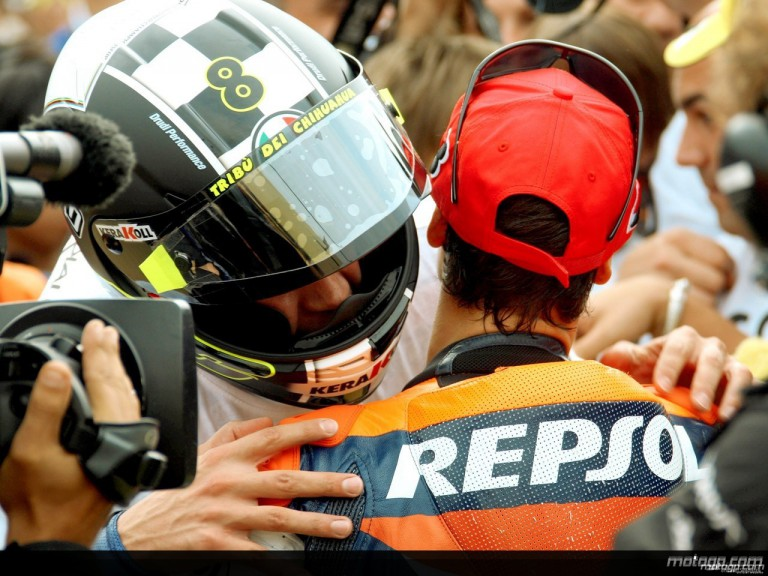 Rossi and Pedrosa in the parc fermé after title-deciding Japanese GP