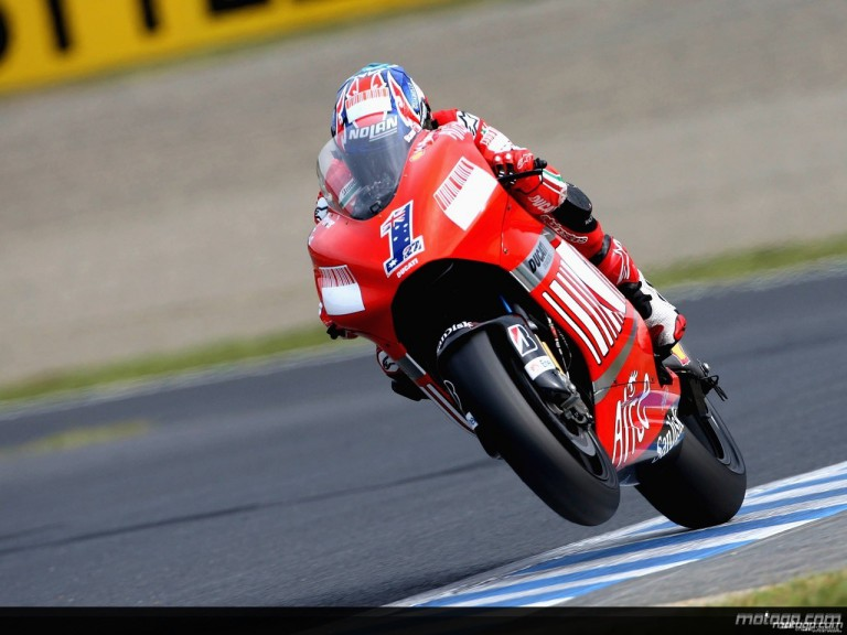 Casey Stoner in action in Motegi