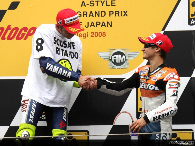 Valentnino Rossi and Dani Pedrosa on the podium at Motegi