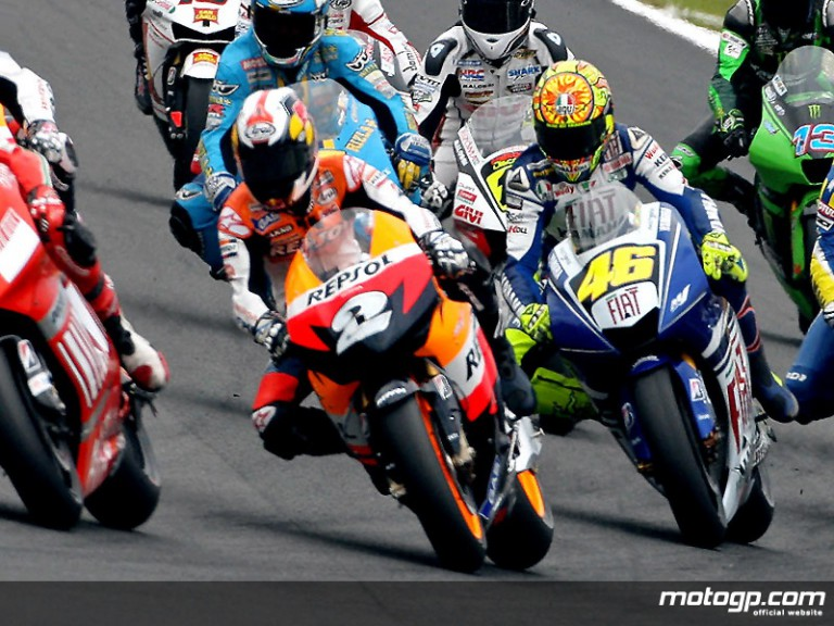 Dani Pedrosa and Valentino Rossi on track at Motegi
