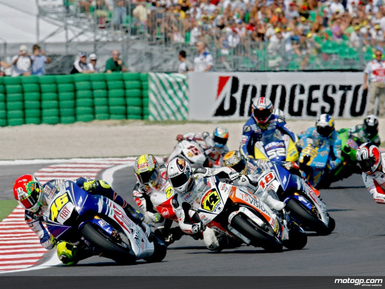 Valentino Rossi riding ahead of MotoGP group