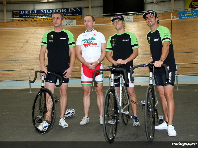 Michael Bartholemy, John Hopkins and Anthony West meet five-time olympian Shane Kelly at the Melbourne Velodrome.