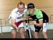 Shane Kelly and Anthony West enjoy at the Melbourne Velodrome