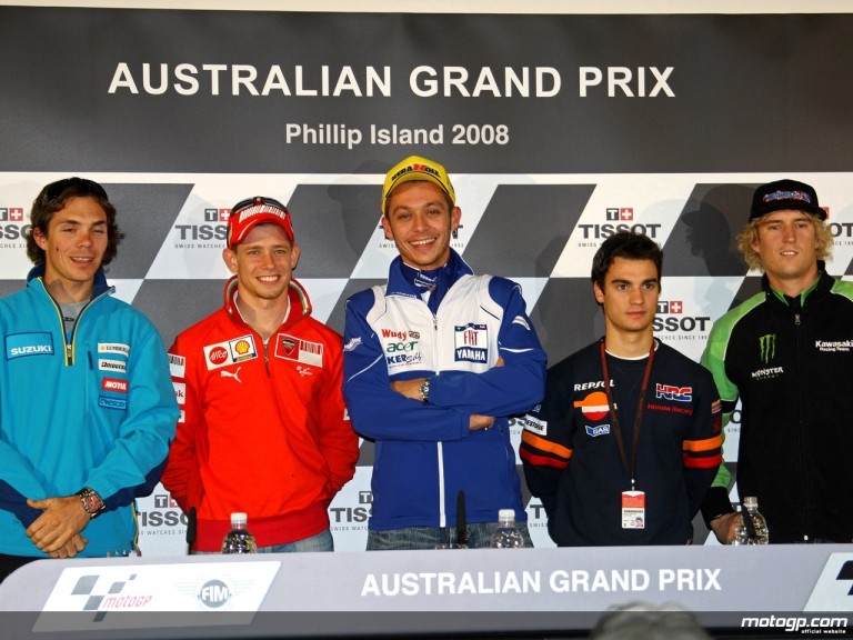 MotoGP riders at the Australian Grand Prix press conference