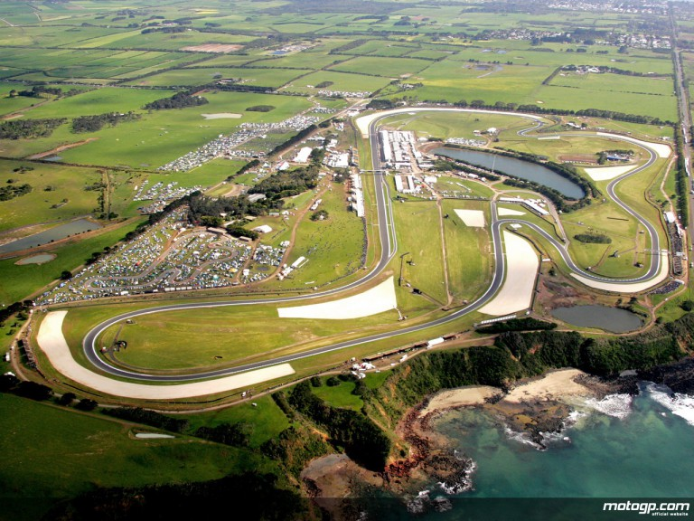 Aerial shot of the Phillip Island Circuit