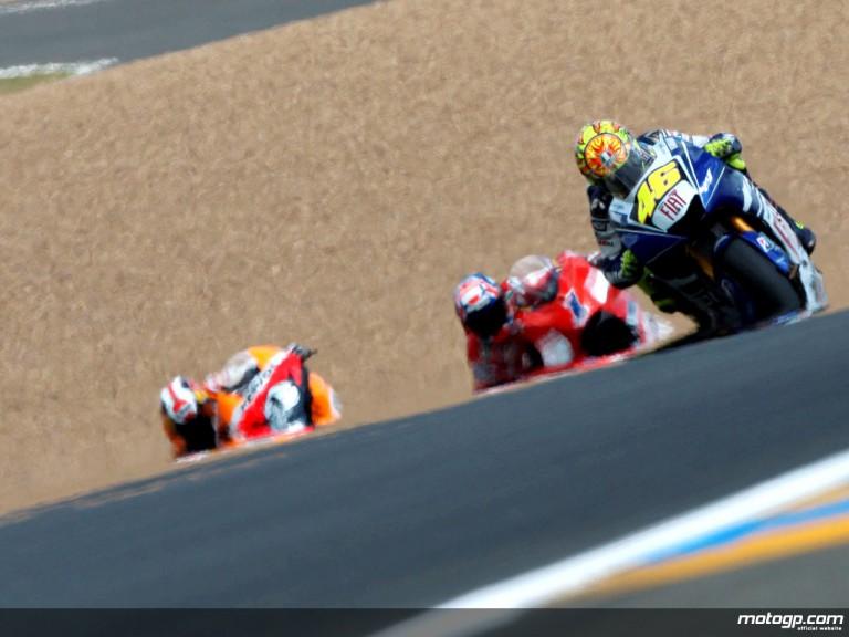 Valentino Rossi, Casey Stoner and Dani Pedrosa on track