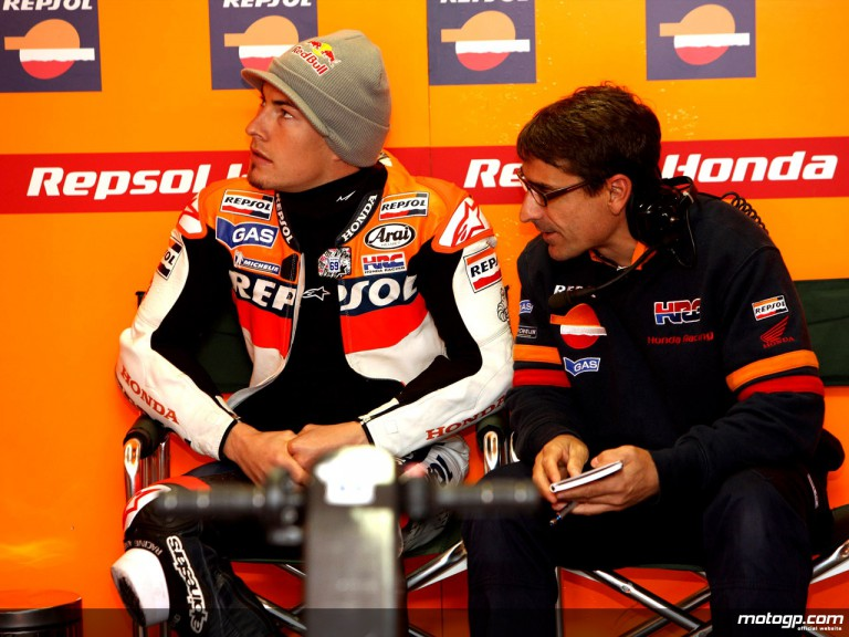 Nicky Hayden in the Repsol Honda garage