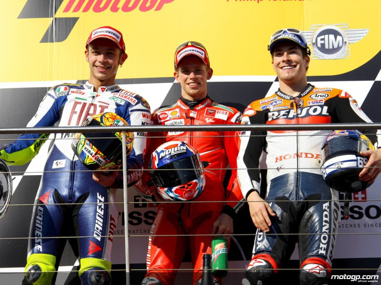 Rossi, Stoner and Hayden on the podium at Phillip Island
