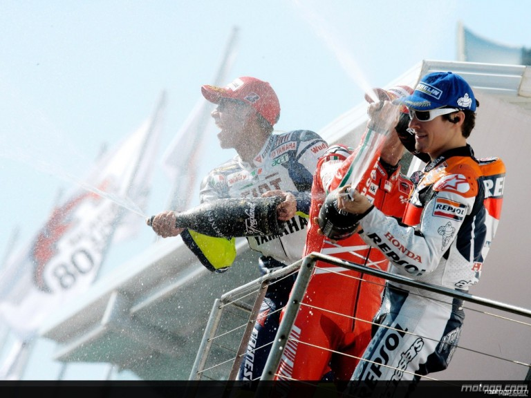 Valentino Rossi, Casey Stoner and Nicky Hayden on the podium at Phillip Island