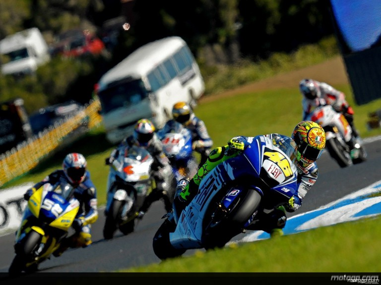 Valentino Rossi riding ahead of MotoGP group at Phillip Island