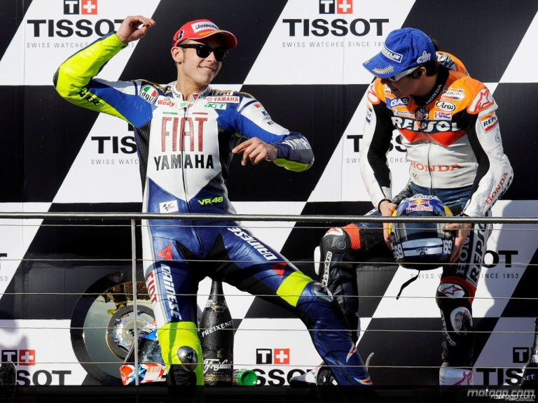 Valentino Rossi and Nicky Hayden on the podium at Phillip Island