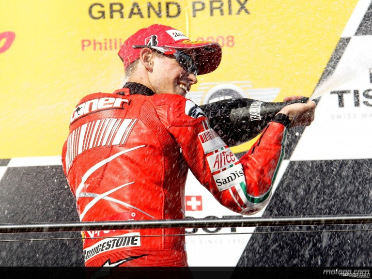 Casey Stoner on the podium at Phillip Island
