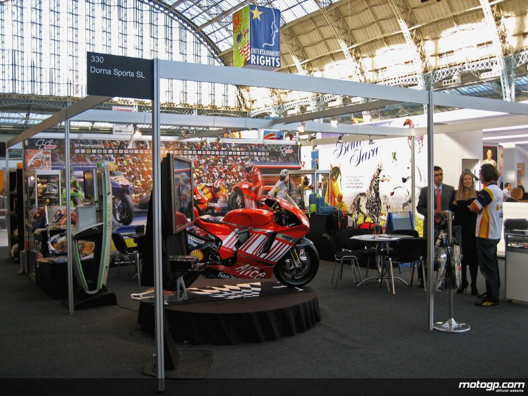 MotoGP stand at the 2008 Brand Licensing Show in Olympia, London