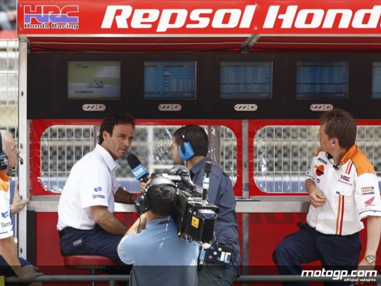 Alberto Puig on the Repsol Honda pitwall