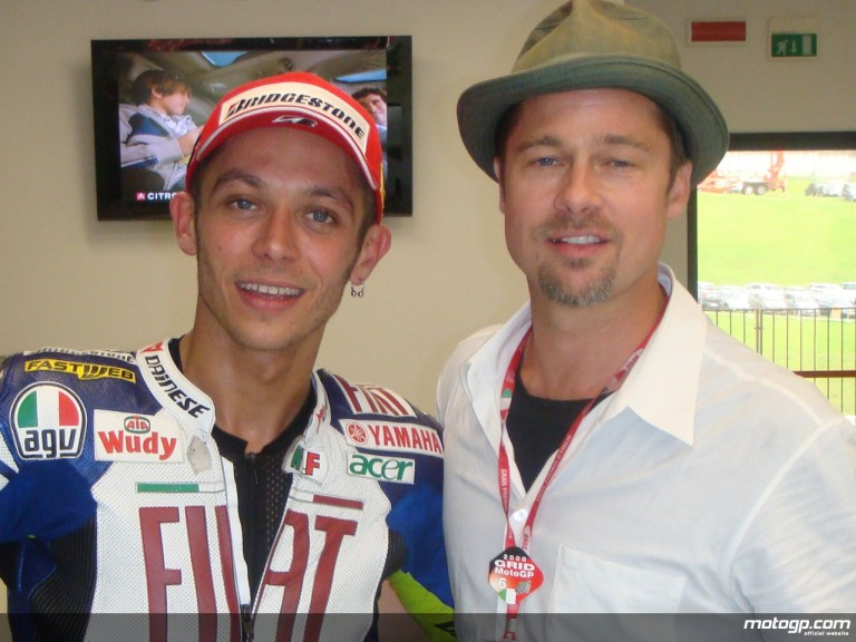 2008 MotoGP World Champion Valentino Rossi and Hollywood star Brad Pitt