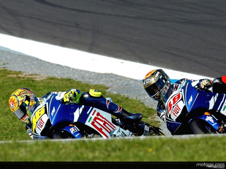 Valentino Rossi and Jorge Lorenzo in action in Phillip Island