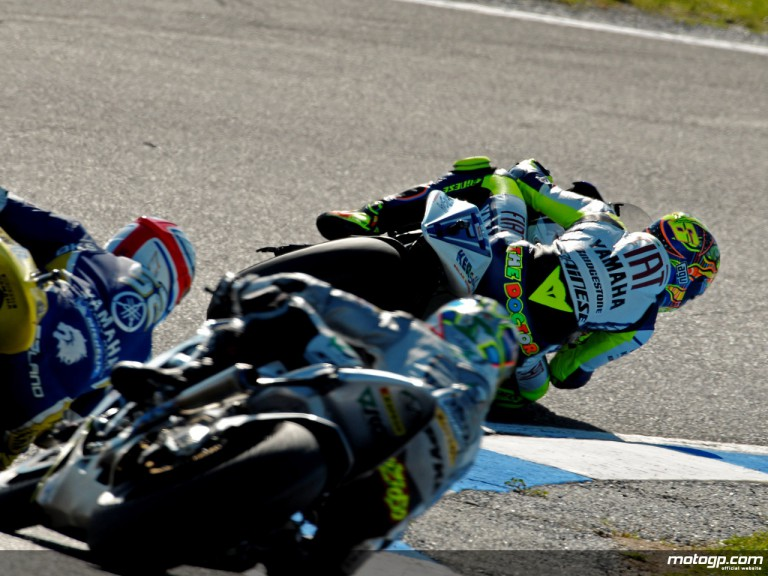 Valentino Rossi riding ahead MotoGP group