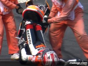 Marquez crash in 125cc FP1