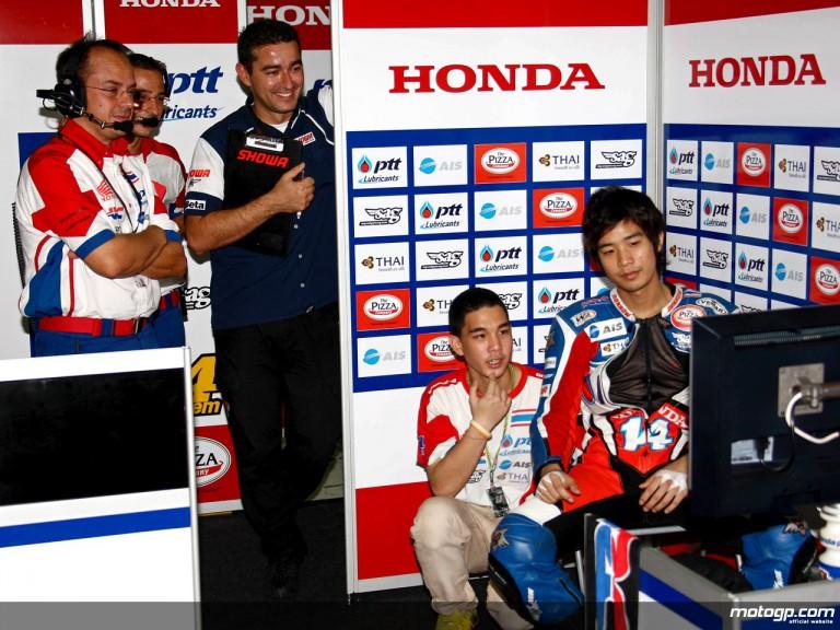 250cc rider Ratthapark Wilairot in the Thai Honda PTT SAG team box