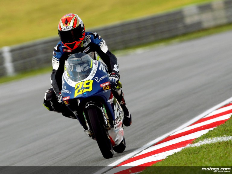 Andrea Iannone in action in Sepang (125cc)