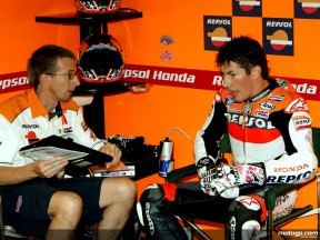 Nicky Hayden and his Chief Mechanic Pete Benson in the Repsol Honda  garage
