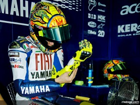 Valentino Rossi in the Fiat Yamaha garage