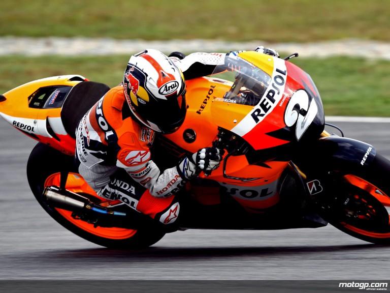 Dani Pedrosa in action in Sepang (MotoGP)