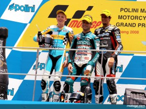 Bradley Smith, Gabor Talmacsi and Simone Corsi on the podium at Sepang (125cc)