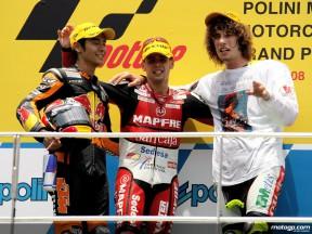 Hiroshi Aoyama, Alvaro Bautista and Marco Simoncelli on the podium at Sepang (250cc)