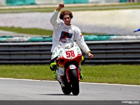 Simoncelli celebrates 250cc title at Sepang