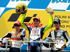 Dani Pedrosa, Valentino Rossi and Andrea Dovizioso on the podium at Sepang
