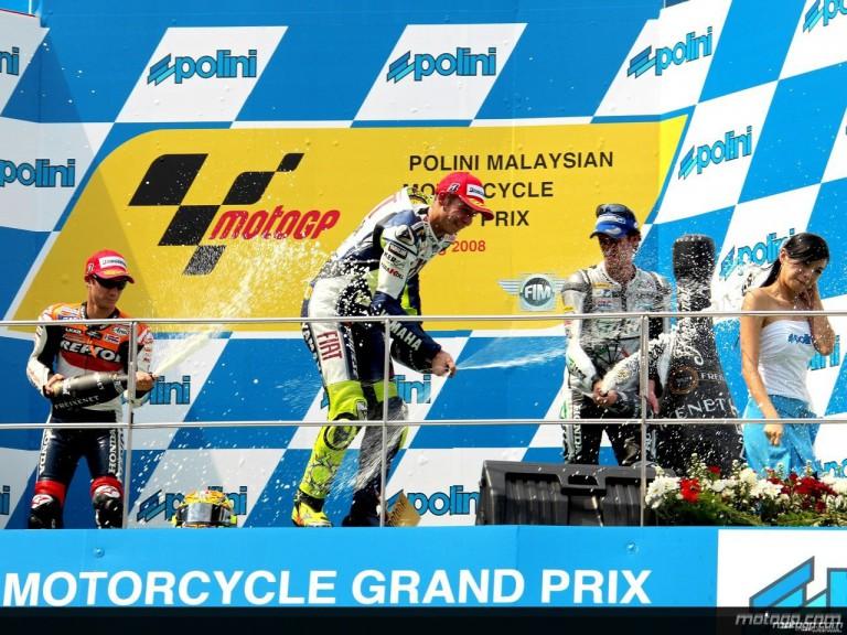 Dani Pedrosa, Valentino Rossi and Andrea Dovizioso celebrate podium in Sepang